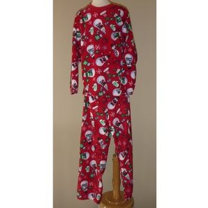 Boys Girls Red Snowmen Xmas Holiday Fleece Pajamas